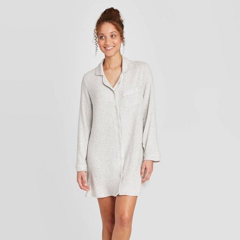 Women's Perfectly Cozy Notch Collar Nightgown - Stars Above™ Light Gray - image 1 of 2