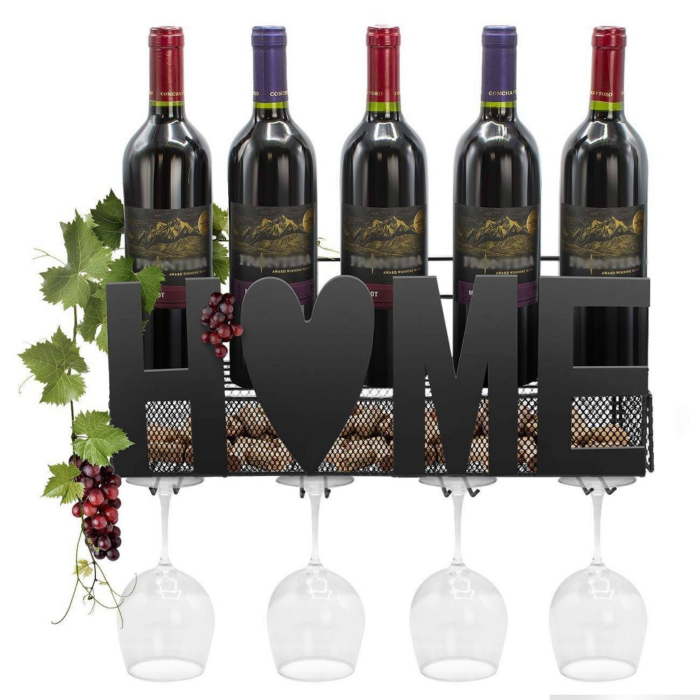 Image of Sorbus Wall Mounted Metal Wine Rack and 4 Long Stem Glass Holder With Wine Cork Storage Black
