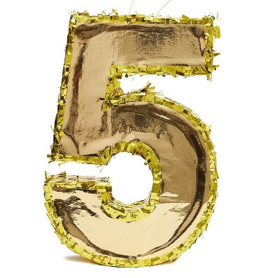 Juvale Small Number 5 Gold Foil Pinata, Fifth Birthday Party Supplies, 15.5 x 10.5 x 3 Inches