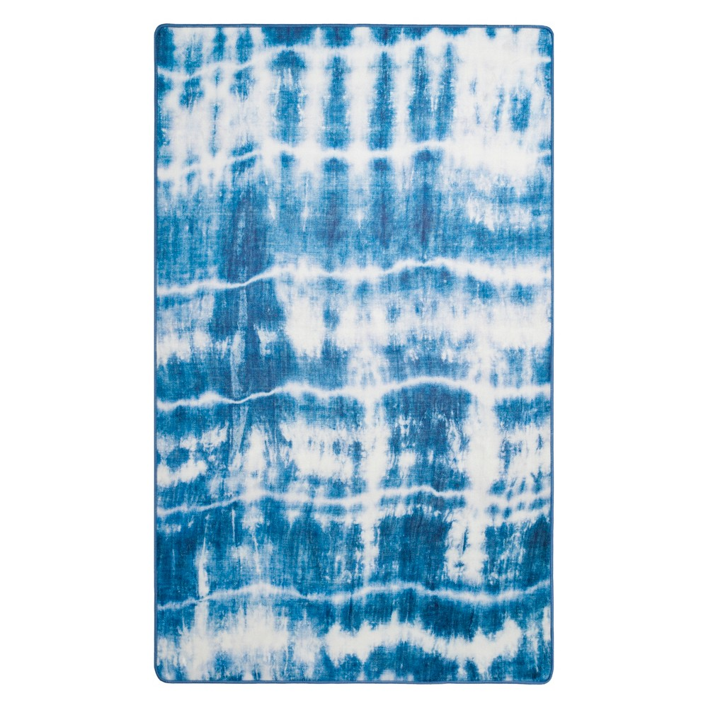 Best Review 51X76 Tie Dye Design Loomed Area Rug IvoryBlue Safavieh White