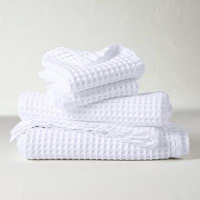 4pc Decorative Waffle Bath Towel Set White - Casaluna™