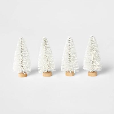 4pk Bottle Brush Tree Set White - Wondershop™