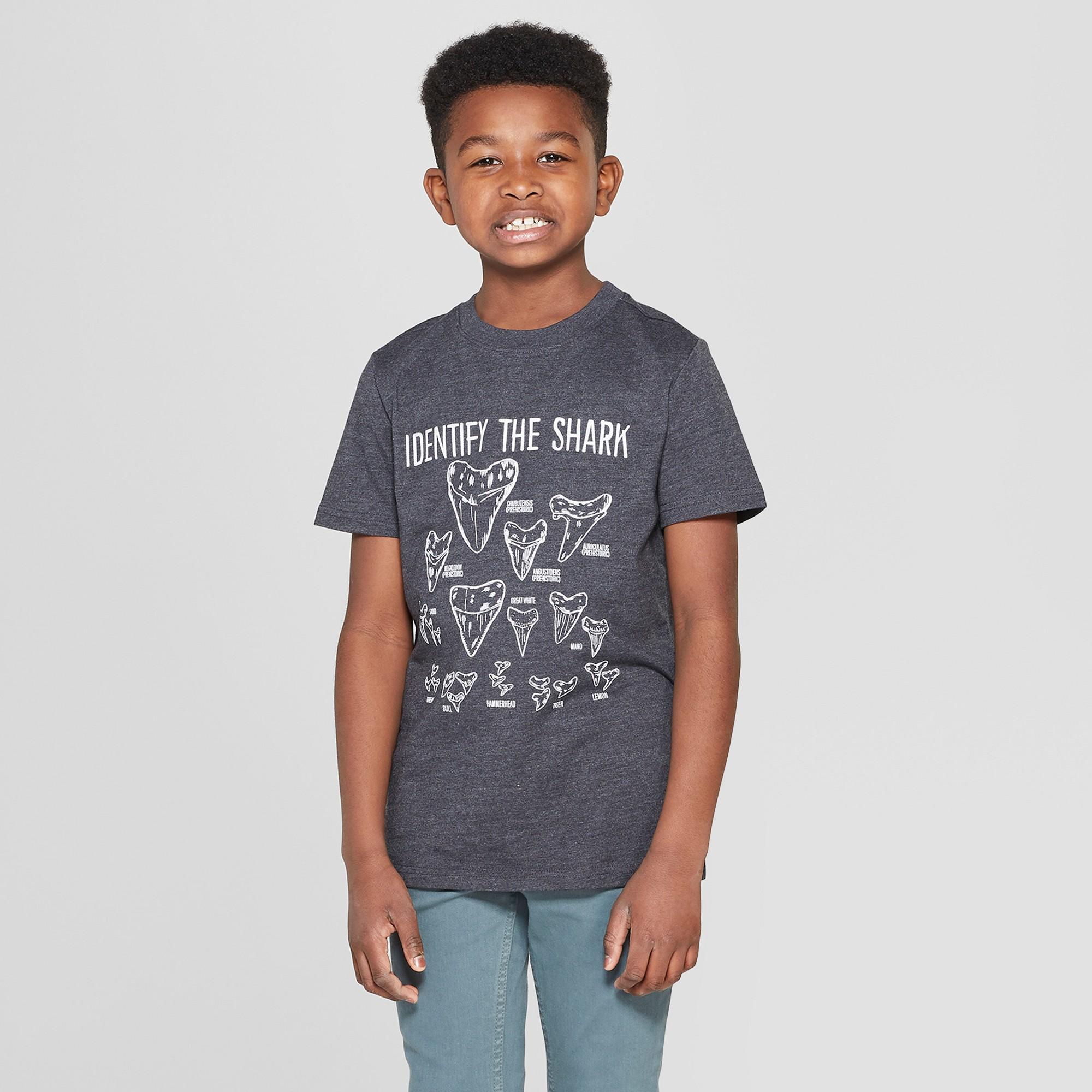 Boys' Shark Teeth Short Sleeve Graphic T-Shirt - Cat & Jack Black XS