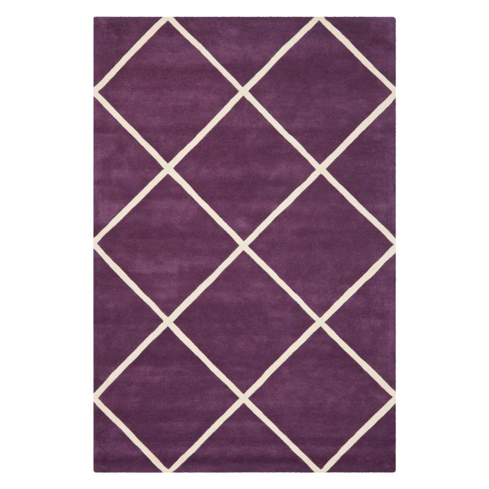6'X9' Geometric Tufted Area Rug Purple/Ivory - Safavieh
