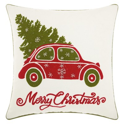 The Holiday Christmas Tree In Car Square Throw Pillow White - Mina Victory