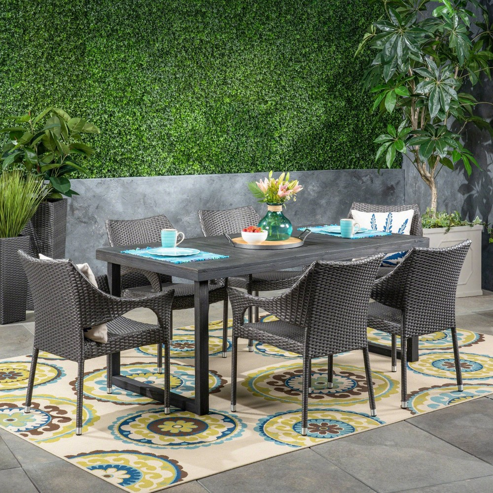 Lecanto 7pc Acacia Wood and Wicker Dining Set - Gray - Christopher Knight Home