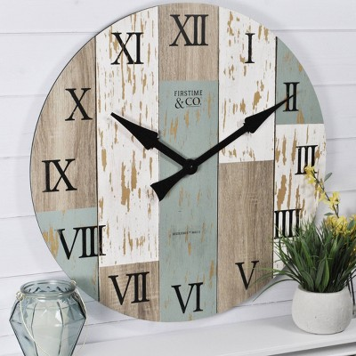 "27"" Timberworks Farmhouse Wall Clock Aged Teal/Shabby White - FirsTime & Co."