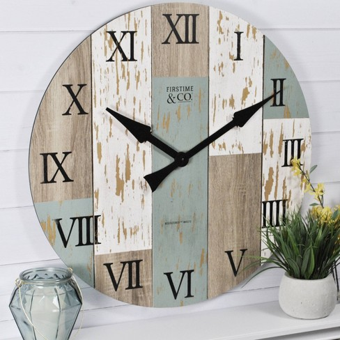 27 Timberworks Farmhouse Wall Clock Aged Teal Shabby White Firstime Co Target