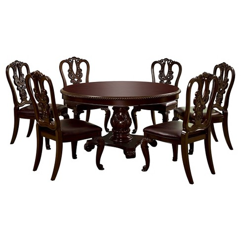 Sun & Pine 7pc Elegant Round Table Dining Set Wood/Brown Cherry - image 1 of 2