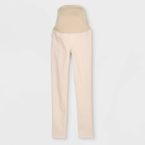 Crossover Panel Skinny Maternity Jeans - Isabel Maternity by Ingrid & Isabel™ Ecru - image 1 of 2