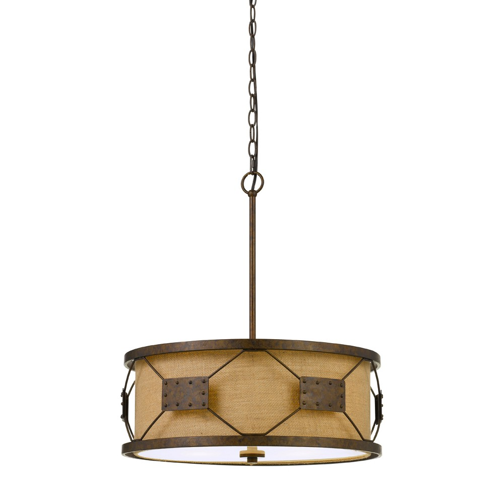 Ragusa Metal Pendant Chandelier With Burlap Shade Rust (Red) 11 - Cal Lighting