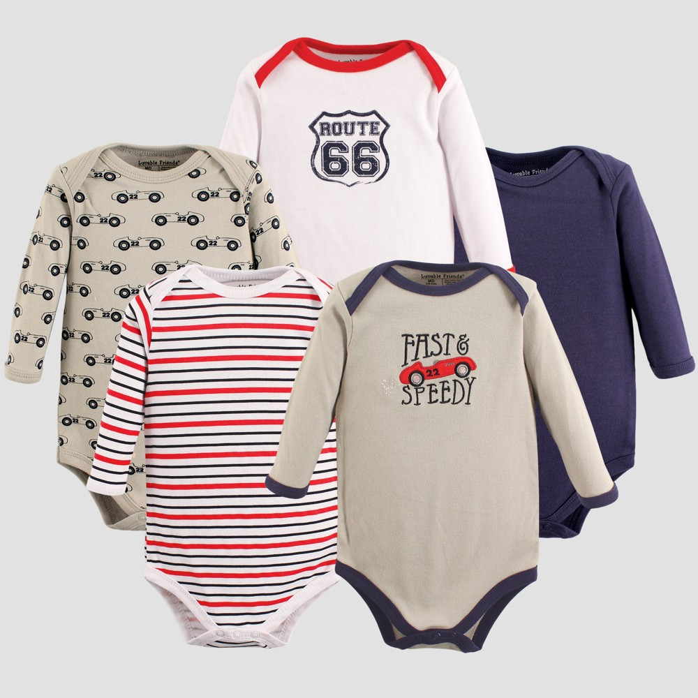 Luvable Friends Baby Boys' 5pk Long Sleeve Bodysuits, Speedy - Red 9-12M