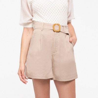 Mine Fashion Women's Linen Short with Carved Buckle Belt