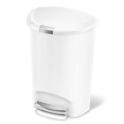 simplehuman 50L Semi Round Plastic Step Trash Can White