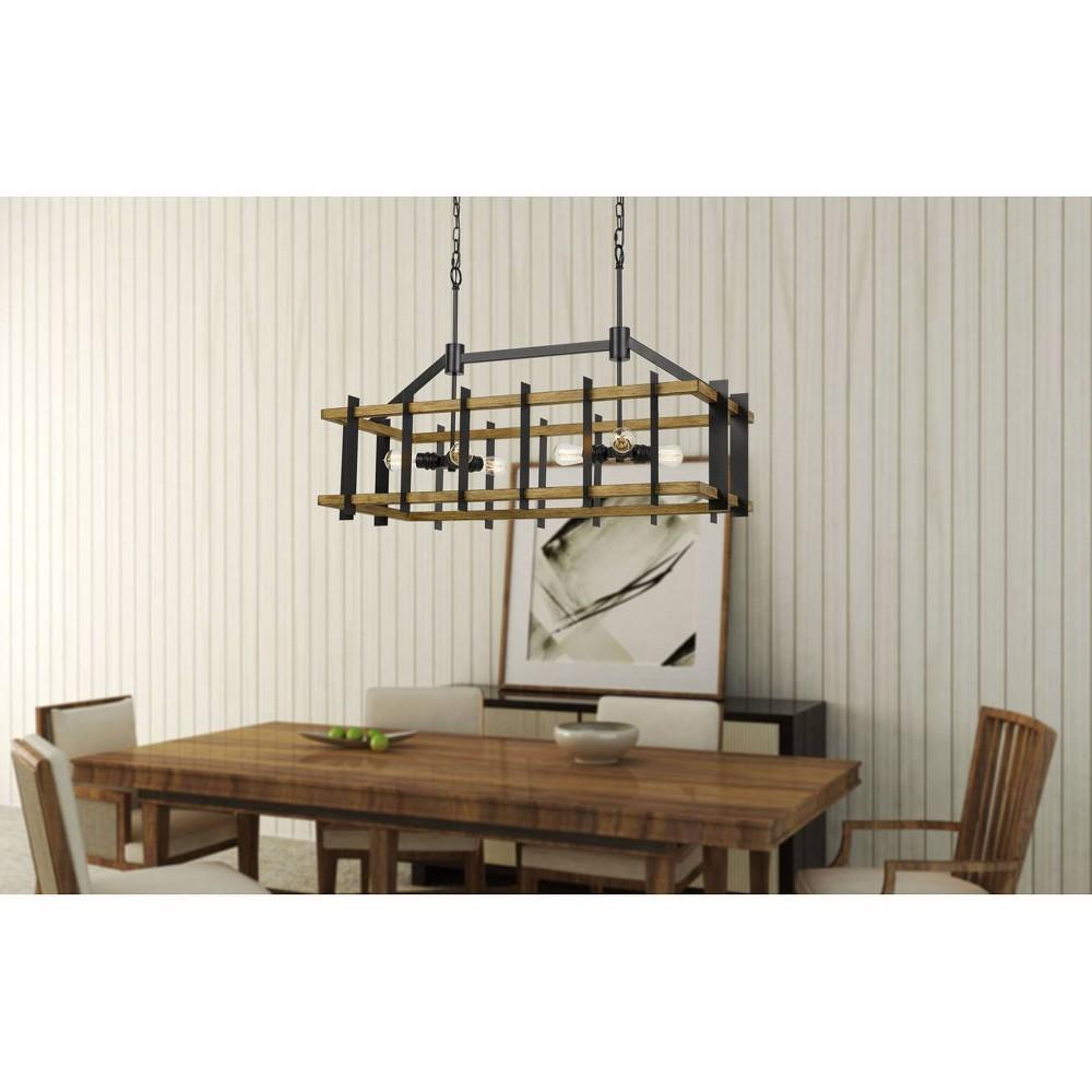 60W X 6 Bruck Metal/Pine Wood Island Chandelier Iron/Light Oak - Cal Lighting, Multi-Colored