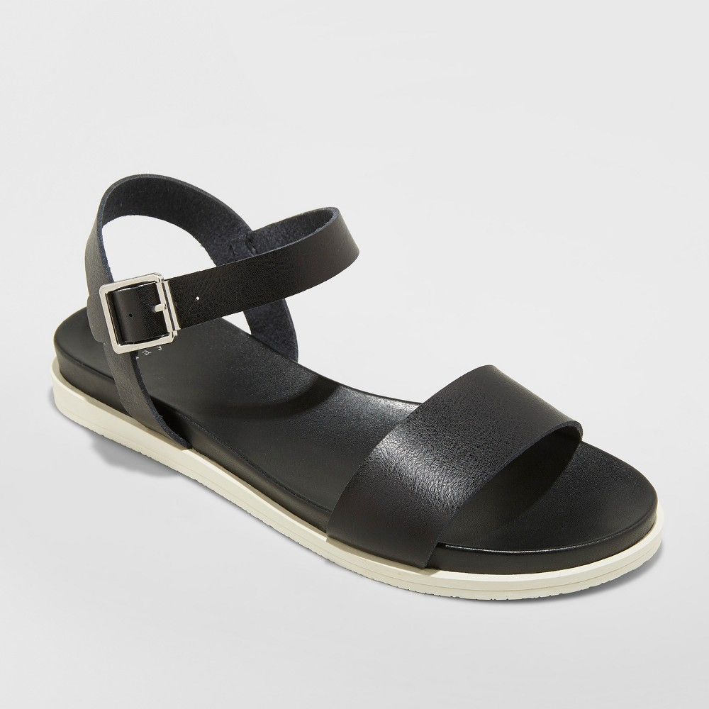 Women's Heartly Ankle Strap Sport Sandals - A New Day Black 8.5