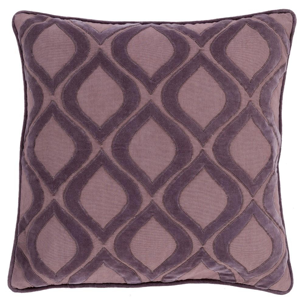 Mauve (Pink) Velvet Ogee Throw Pillow 18