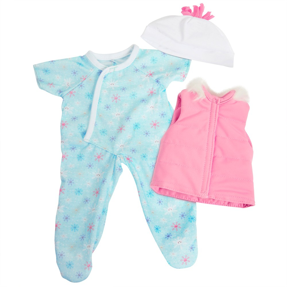 Perfectly Cute Baby Doll Outfit - Seasonal 3pc Snowflake Romper with Vest & Hat