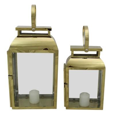 """Raz Imports Set of 2 Shiny Rectangular Metal Candle Lanterns 16"""""""