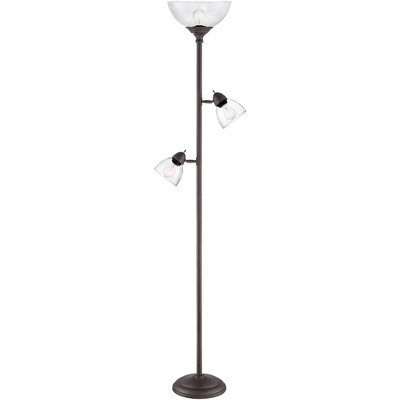 360 Lighting Modern Torchiere Floor Lamp 3-Light Tree Painted Bronze Clear Glass Shade for Living Room Reading Bedroom Office