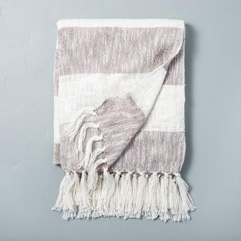Wide Stripe Tassel Fringe Throw Blanket Gray/Sour Cream - Hearth & Hand™ with Magnolia - image 1 of 3