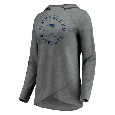 Nfl New England Patriots Women's Victory Circle Gray Lightweight Hoodie by Nfl