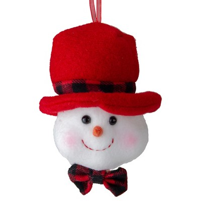 "Kurt S. Adler 7"" White Snowman with Top Hat and Bow Tie Christmas Ornament"