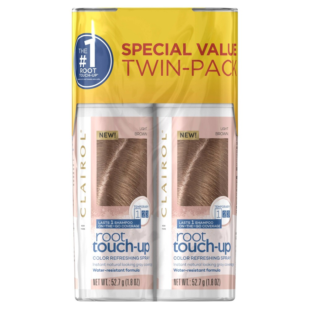 Image of Clairol Root Touch-Up Color Refreshing Spray Twin Pack - Light Brown - 3.6oz