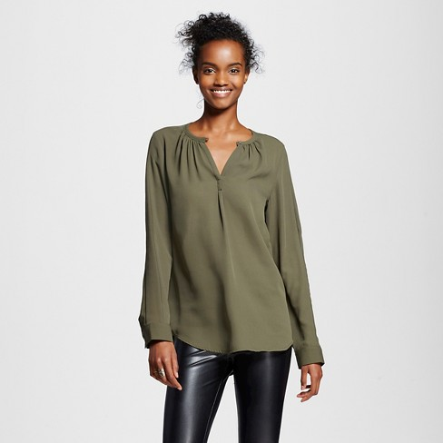 Women's Convertible Sleeve Blouse Olive Green XL - Mossimo™ - image 1 of 2