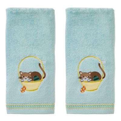 2pk Easter Egg Cat Hand Towel Set Aqua - SKL Home