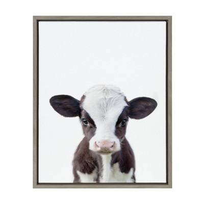 "18"" x 24"" Sylvie Baby Cow Portrait Framed Canvas Wall Art by Amy Peterson Gray - DesignOvation"