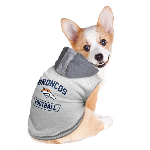 wholesale dealer 565a1 89548 Denver Broncos Little Earth Pet Hooded Crewneck Football Shirt - Gray M