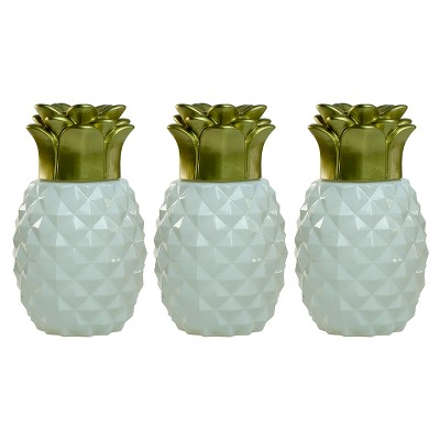 "6.5"" 3pk Pineapple Paradise Glass Table Torch White/Gold - TIKI"