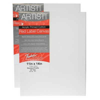 """Fredrix Red Label Stretched Cotton Canvas 11 X 14"""" - 2pk"""