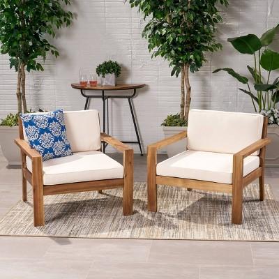 Santa Ana 2pk Acacia Wood Club Chairs Teak/Cream - Christopher Knight Home
