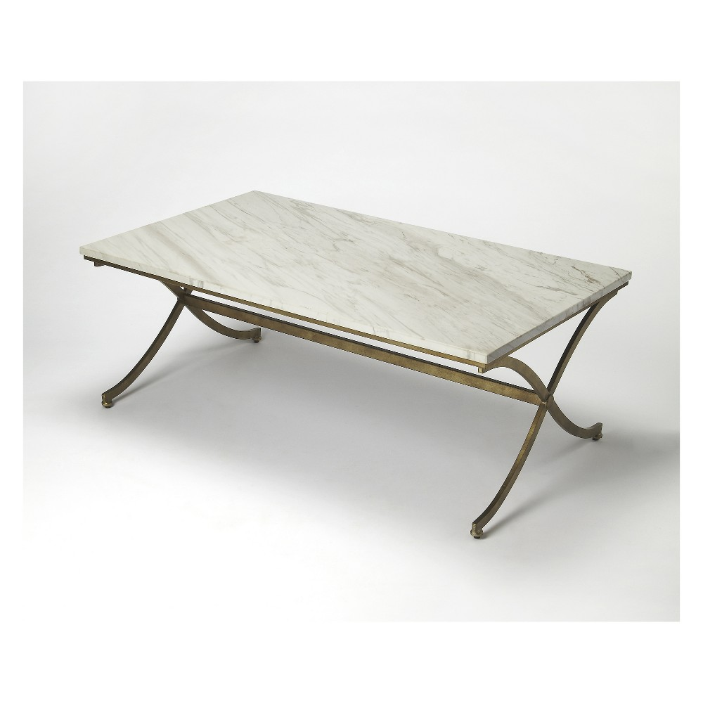 Butler Specialty Pamina Travertine Cocktail Table Antique Gold