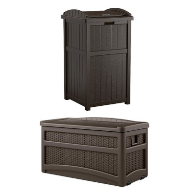 73 Gallon Deck Box With Seat with Suncast Trash Hideaway Outdoor Garbage Bin