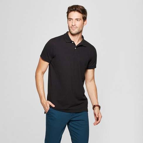 Men's Standard Fit Short Sleeve Collared Loring Polo T-Shirt - Goodfellow & Co™ Black S