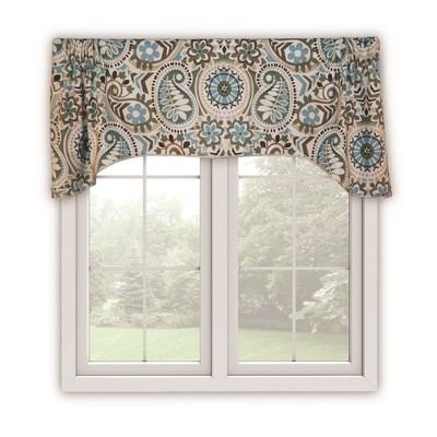 Ellis Curtain Paisley Prism High Quality Room Darkening Solid Natural Color Lined Arch Window Valance - 50 x 15, Brown