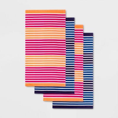 4pk Striped Beach Towel Set Navy/Pink - Sun Squad™