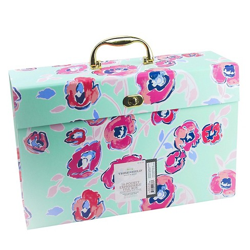 19 Pkt Box Expandable File Folders, Pink/White Stripe or Teal Floral - Threshold™ - image 1 of 2