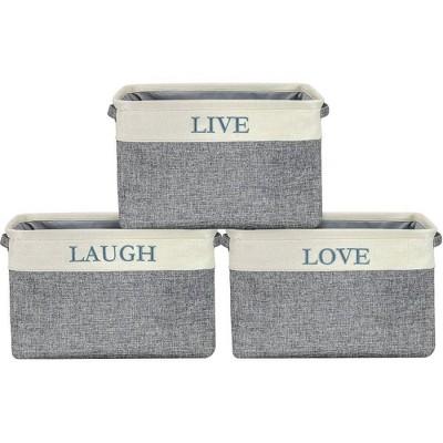 Sorbus 3pk Twill Storage Basket Set Love Live Laugh
