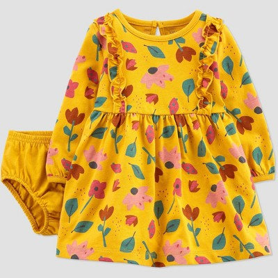 Baby Girls' Floral Dress - Just One You® made by carter's Yellow Newborn