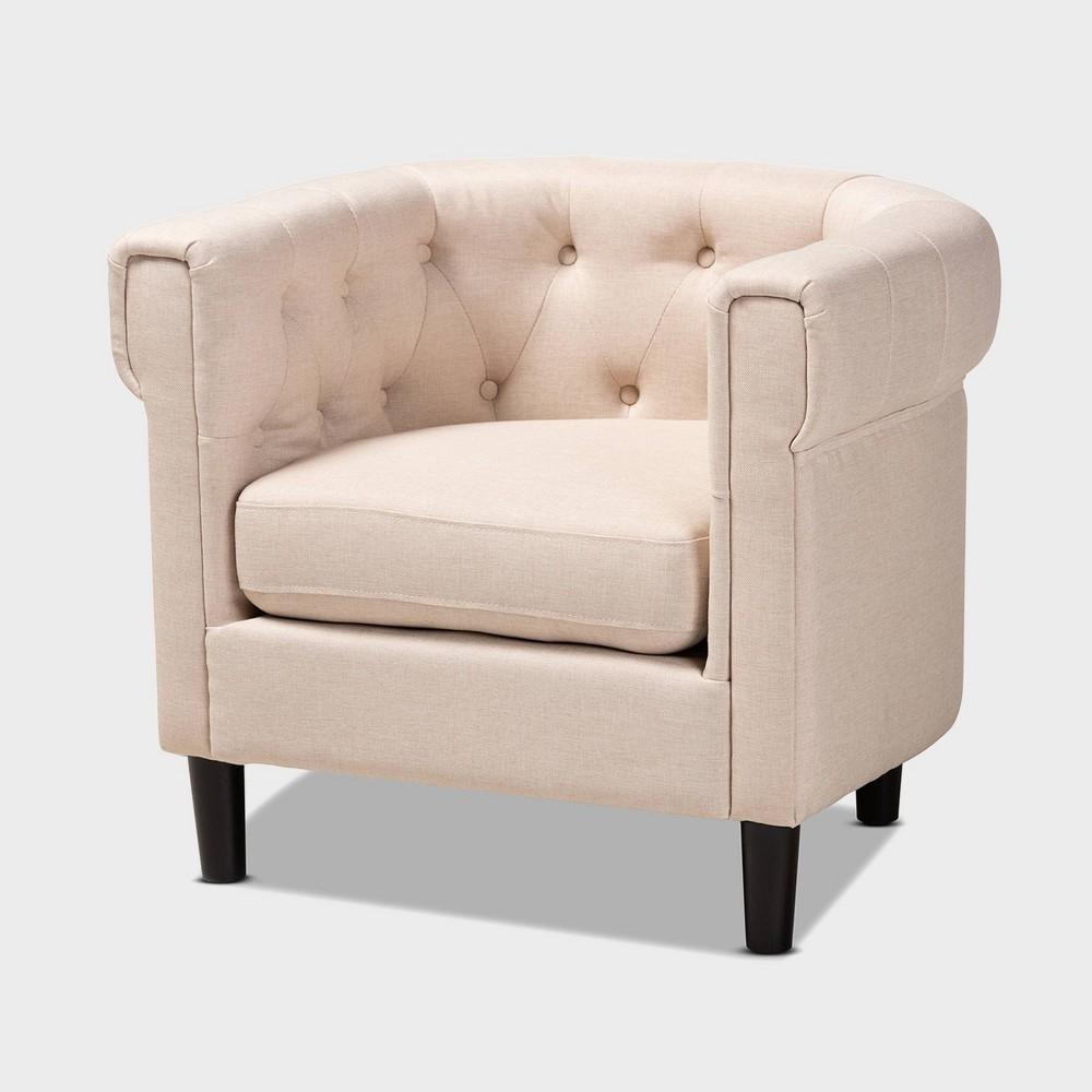 Bisset Chesterfield Chair Beige - Baxton Studio