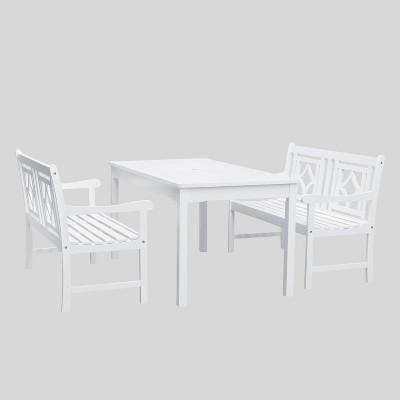 Bradley 3pc Rectangle Wood Outdoor Patio Dining Set - White - Vifah