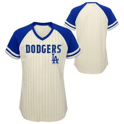 MLB Los Angeles Dodgers Girls' Pinstripe V-Neck T-Shirt