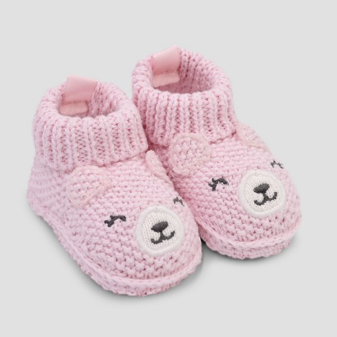 9d7a17333ea4 Baby Girls  Knitted Bear Slipper - Just One You® made by carter s Pink  Newborn