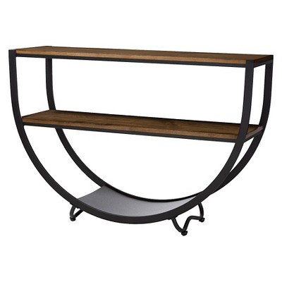 Blakes Rustic Industrial Style Textured Finish Metal Distressed Wood Console Table - Antique Black - Baxton Studio