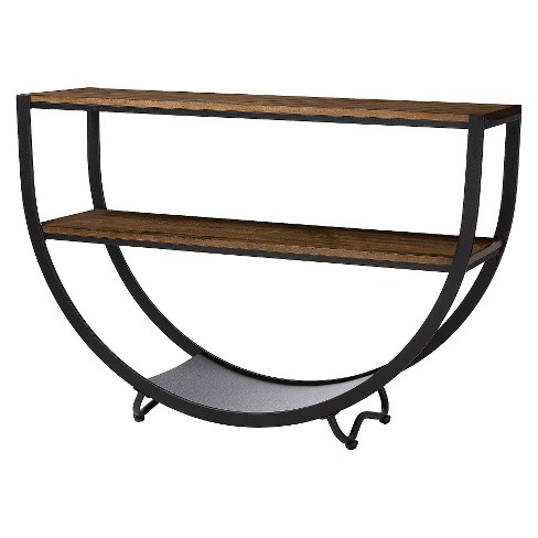 Blakes Rustic Industrial Style Textured Finish Metal Distressed Wood Console Table - Antique Black - Baxton Studio - image 1 of 4
