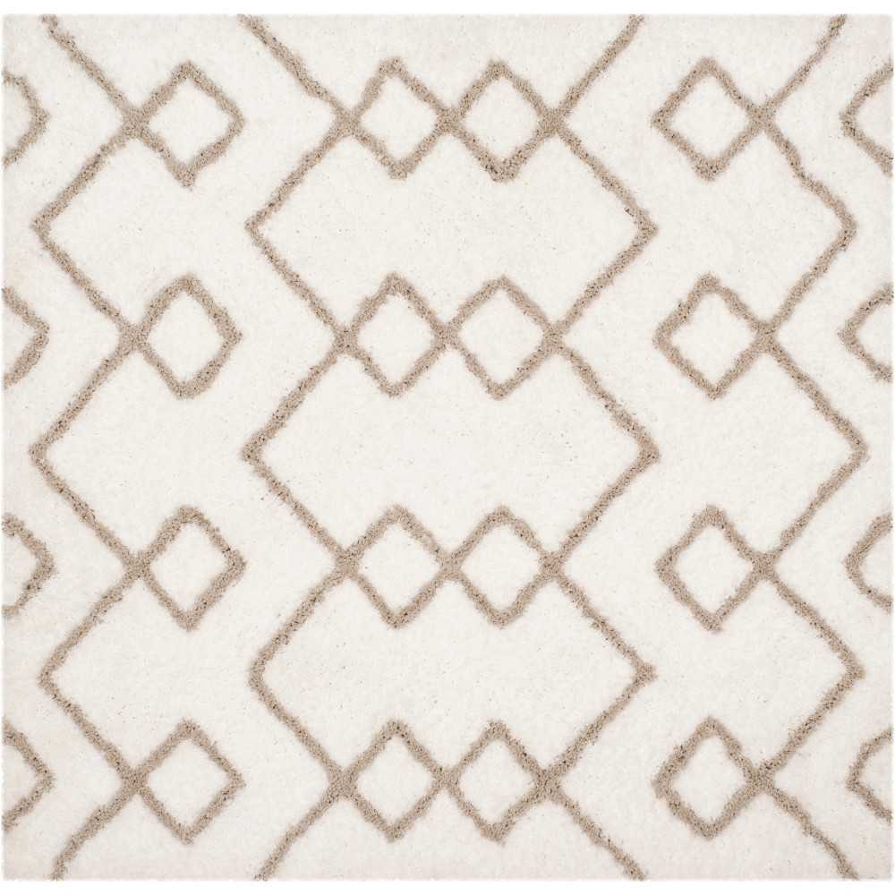 5'X5' Tribal Design Tufted Square Area Rug Ivory/Silver - Safavieh, White